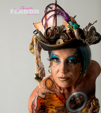 STEAMPUNK artist Janie Fearon photo Colin Ellis model Mel Gajdek